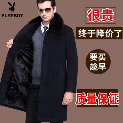 花花公子男冬新款山羊绒呢子大衣中长款中老年加绒加厚毛呢外套