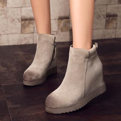 2016秋冬新款磨砂真皮厚底短靴韩版内增高女靴短筒侧拉链单靴M818