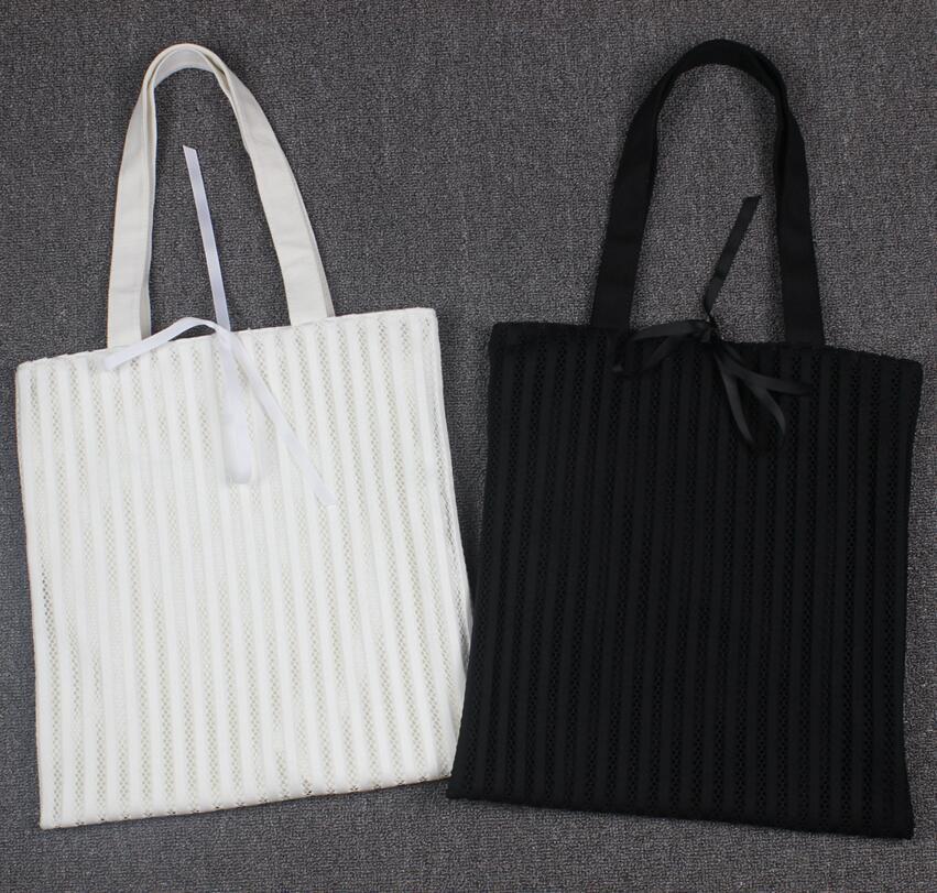 纯色网眼书包单肩包韩国文艺袋子镂空条纹布蕾丝手提袋帆布包