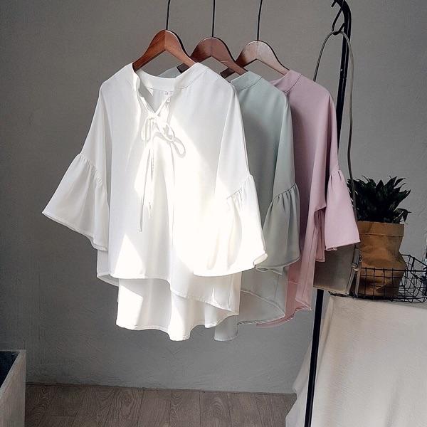雪纺衫衬衫2017夏季新品韩国女装纯色V领系带雪纺衬衫女