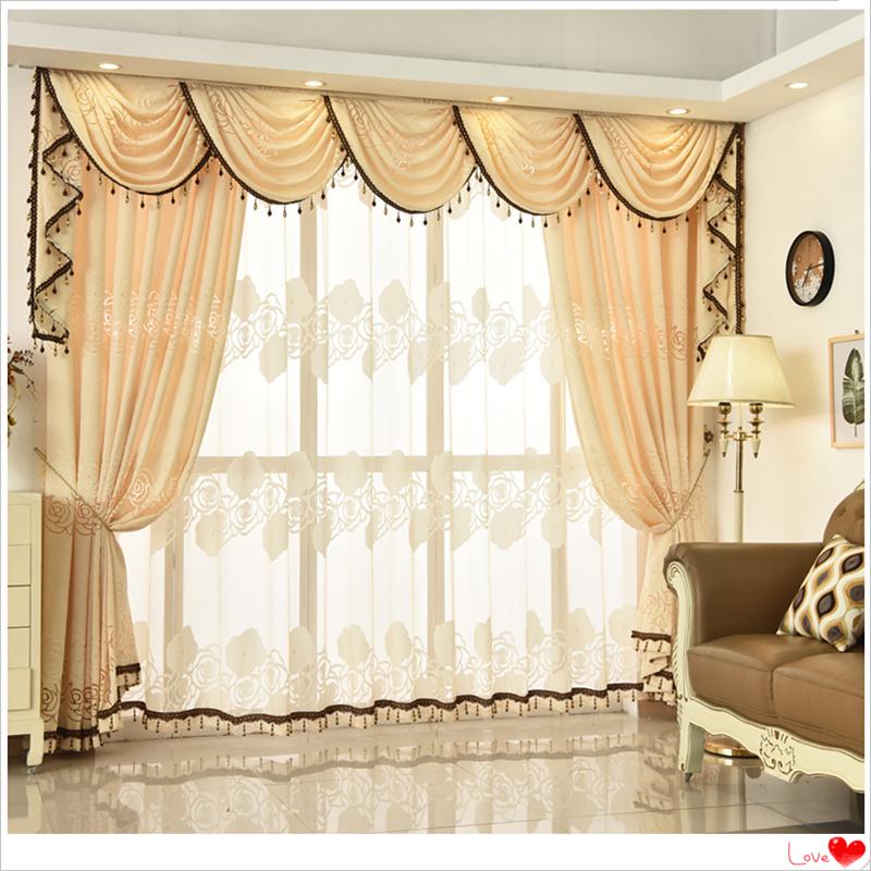 欧式客厅窗帘帘头窗幔眉头成品定制黄色大气窗帘窗纱餐厅客厅窗帘图片