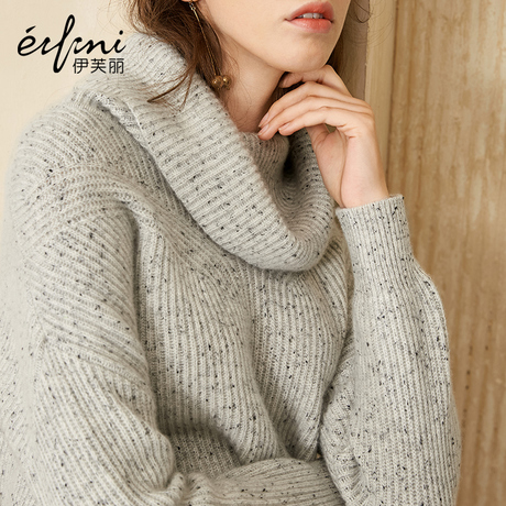 全羊绒伊芙丽秋冬装新款韩版高领宽松毛衣套头毛针织衫羊绒衫女商品大图