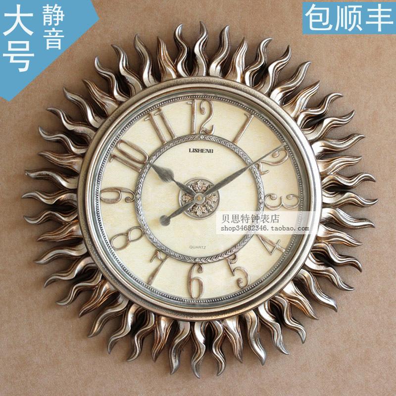 大号丽盛欧式复古钟表太阳艺术挂钟客厅创意挂表静音