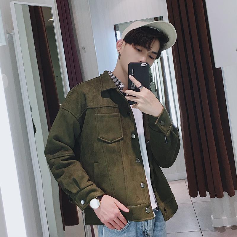翻领夹克衫韩版百搭青年复古外套气质