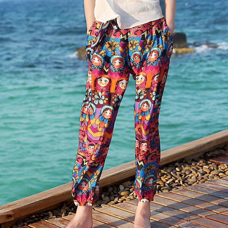 夏波西米亚沙滩裤女裤阔腿裤花裤子泰国灯笼裤海边度假民族风长裤