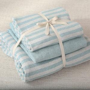 裸睡简约条纹天竺棉四件套针织棉全棉被套1.5/1.8m米床单床笠款式