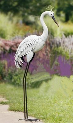 美式庭院花园落地仙鹤装饰 花园水景摆件 店铺橱窗装饰图片