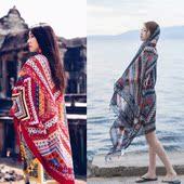 秋冬季围巾大披肩防晒海边丝巾女民族风棉麻度假海滩纱巾沙滩巾