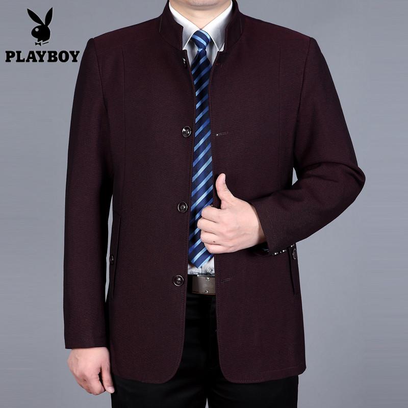 花花公子春秋新款中年男士夹克商务休闲立领爸爸装中长款修身外套