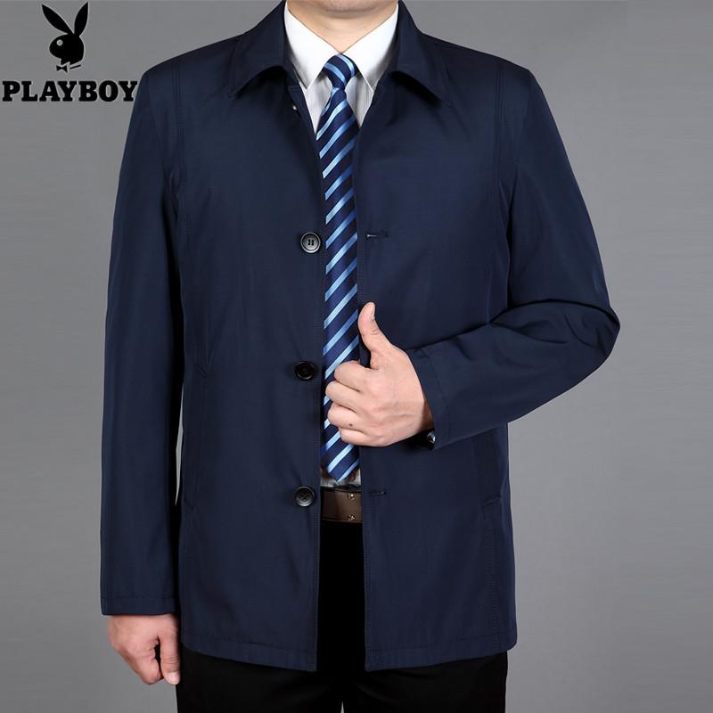 花花公子春季男士中长款风衣翻领纯色男装中年夹克外套男薄款风衣