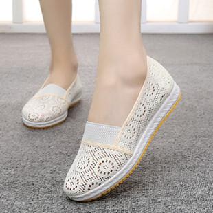 老北京女平底透气一脚蹬布鞋防滑