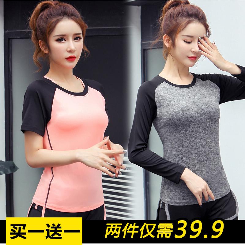 韩版夏瑜伽服女短袖T恤健身T恤健身房上衣透气显瘦健身跑步运动女