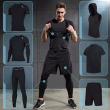 健身服男套装速干短袖紧身衣夏季夜晨跑步篮球训练房运动五六件套