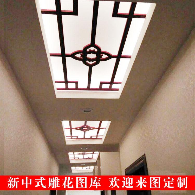中式图案PVC雕花隔板通花板新中式吊顶镂空电视背景墙木塑板花格