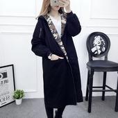 2017春秋新款韩版学院风宽松大码两面穿薄款风衣迷彩中长款外套女