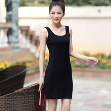 棉质吊带背心裙女打底夏季中长款 显瘦 包臀性感修身 无袖 内搭大码