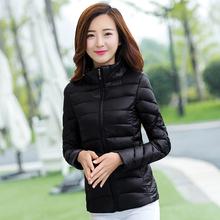 黑色立领轻薄羽绒棉衣女短款修身冬季韩版学生小棉袄大码棉服外套