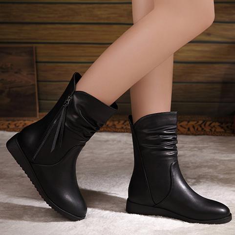 2017秋冬季新款怡菲意尔康短靴女真皮平底坡跟圆头短筒春秋单靴子