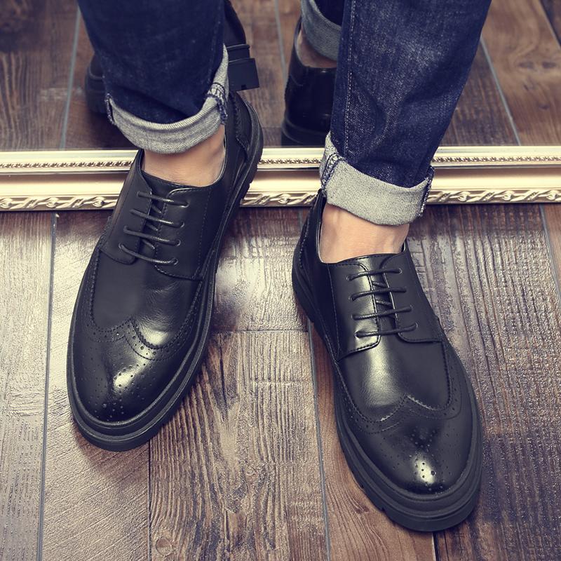 秋季潮男鞋子2017新款布洛克鞋男英伦休闲鞋韩版潮流增高男士皮鞋
