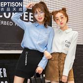 衣品天成 2017秋装新款韩版时尚百搭印花衬衫女宽松显瘦长袖衬衫