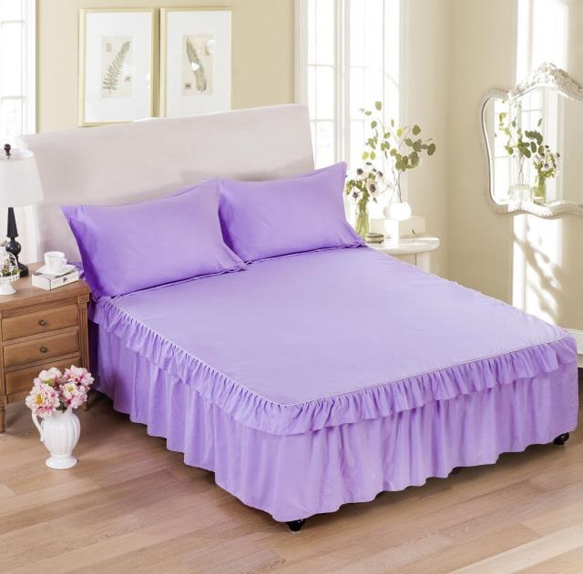 夏季1.8米床裙单件床罩1.5米席梦思保护套纯色双层花边床单床笠