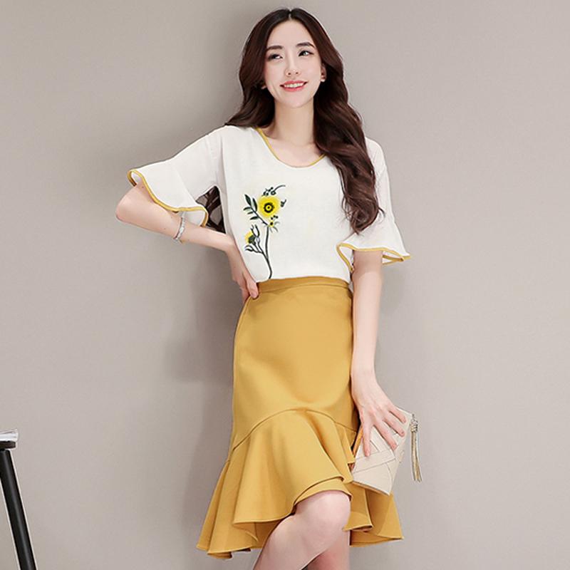 套装半身裙子女装鱼尾两件套韩版显瘦时尚气质夏装