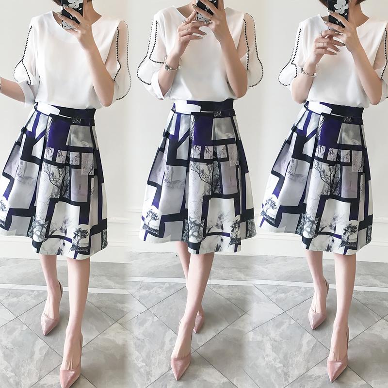套装袖雪纺两件灯笼长款女装韩版中连衣裙