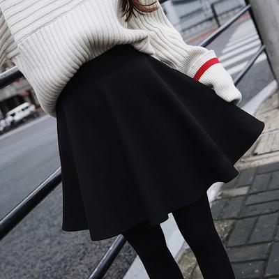 高腰太空棉半身裙女秋冬新款a字裙大码百褶裙显瘦蓬蓬伞裙短裙子
