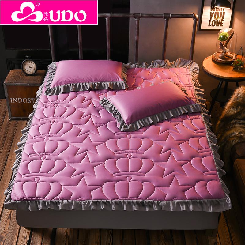 床墊純棉加厚純色床罩床單夾棉床笠單件床裙套