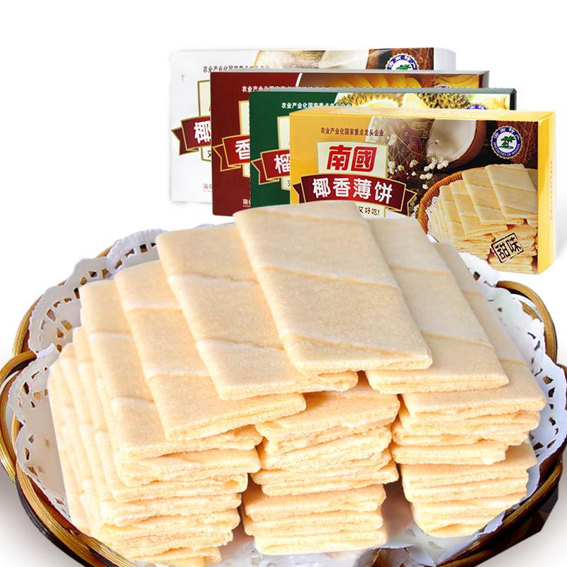 海南特产椰香薄饼榴莲香蕉饼干休闲食品办公室零食 80g 南国薄饼