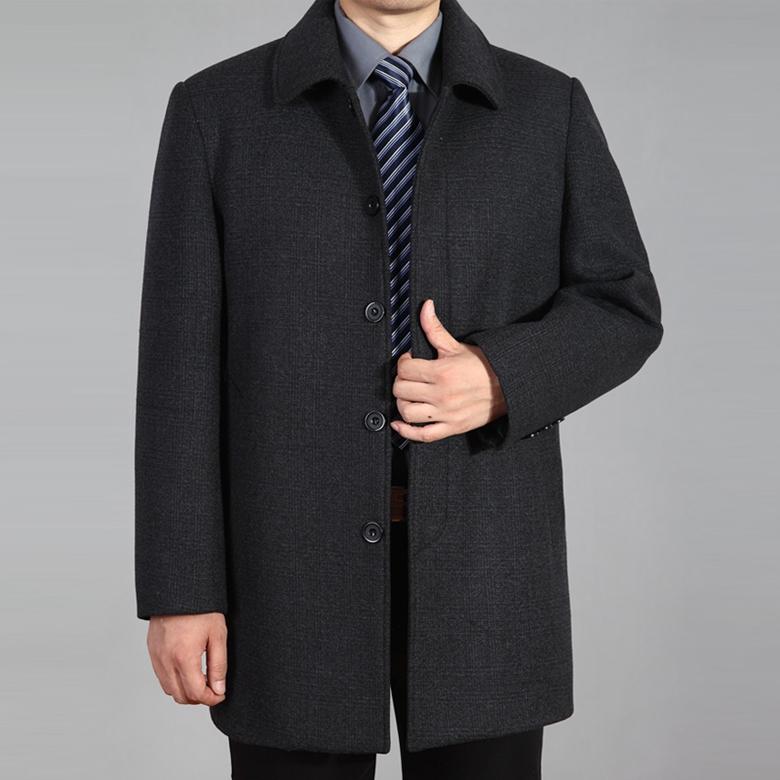 中老年秋冬季毛呢大衣男中长款翻领加厚大码呢子风衣男外套爸爸装
