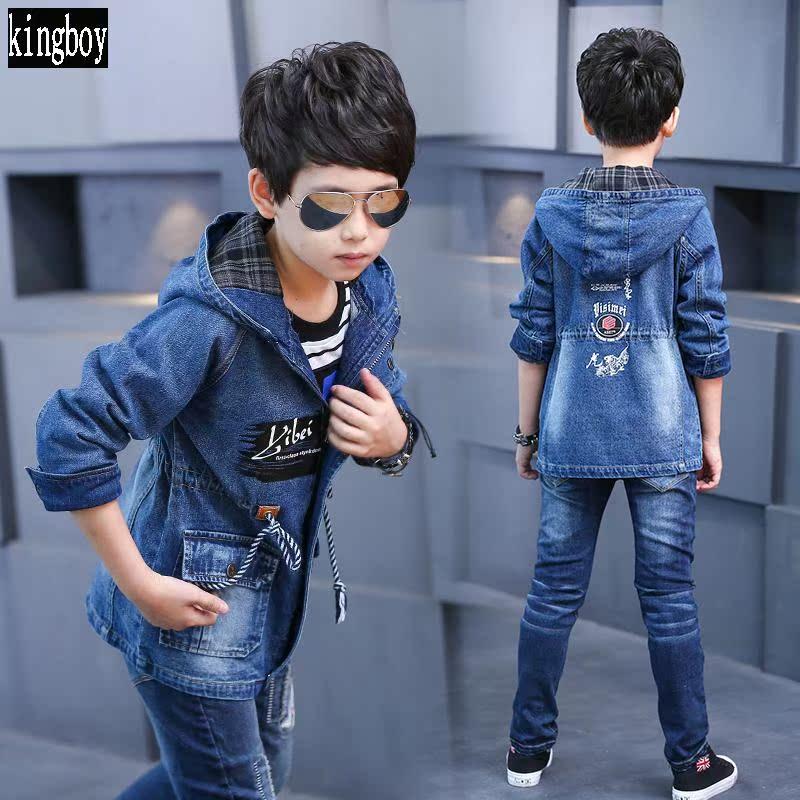 款中大童儿童男童风衣春秋外套上衣牛仔韩版潮长款春装