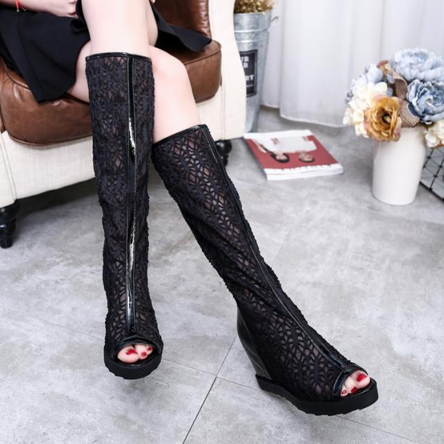 靴女夏高筒網紗風涼歐美坡跟長靴高筒靴洞洞春秋鏤空