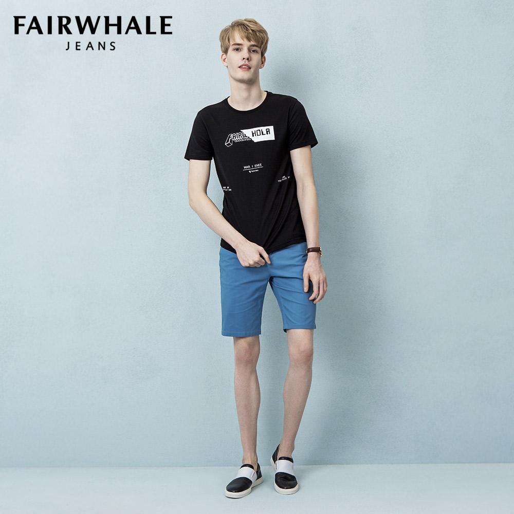 马克华菲短袖T恤男黑色2017新品字母印花纯棉潮流圆领上衣