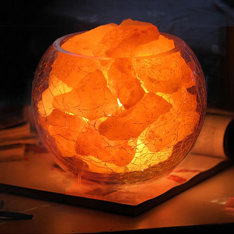 闪迪家居 天然养生水晶盐灯 可调光创意台灯 防辐射负离子盐晶灯