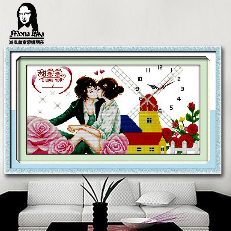 鸿胤皇室蒙娜丽莎十字绣钟表卡通十字绣时钟情侣浪漫卧室爱情系列