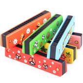 木质3 7岁 宝宝音乐早教益智吹奏玩具 奥尔夫乐器16孔儿童口琴