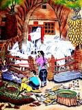 发羊财饭店宾馆农家乐院子装修陕鼻洞张青义农民画尺寸52x38cm