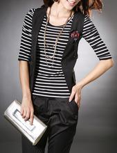 2014秋装新品新款女装韩版条纹修身中袖T恤打底衫女款 条纹 纯棉