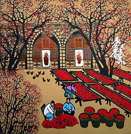 枣乡酒店饭店农家乐院装饰陕北窑洞曹全堂户县农民画尺寸25x25cm