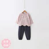 杨梅自营2017韩版新款儿童春装女童套装女宝宝上衣长裤两件套包邮