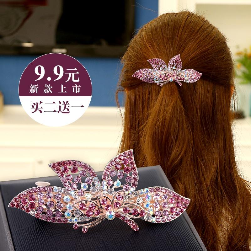 马尾水钻蝴蝶结弹簧头发夹盘发发卡头饰饰品韩国大号夹子
