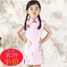 2017春夏新款女童旗袍民族风儿童公主裙大童女棉质连衣裙中式