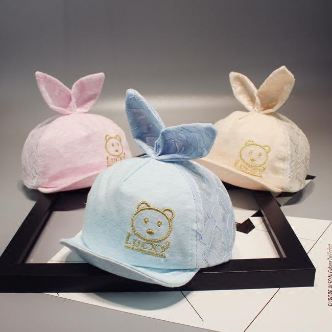 夏季嬰兒遮陽帽耳朵寶寶男女鴨舌帽帽子防曬涼帽幼童