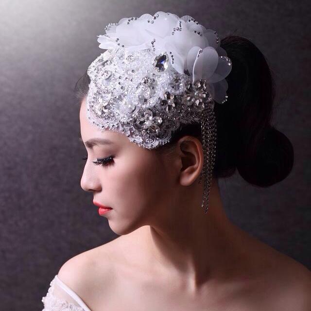 新娘头饰优雅韩式手工定制流苏蕾丝水晶结婚发饰礼帽短发婚纱配饰