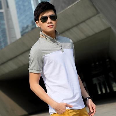 2017夏季男士短袖T恤 男装翻领修身纯棉半袖体恤男韩版夏装上衣潮