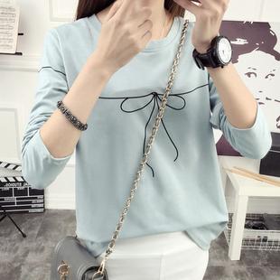 秋季体恤韩版新款女装上衣宽松显瘦圆领卡通印花长袖T恤打底衫女