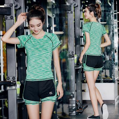 夏季瑜伽服运动套装女健身服显瘦健身房速干衣跑步服三件套大码