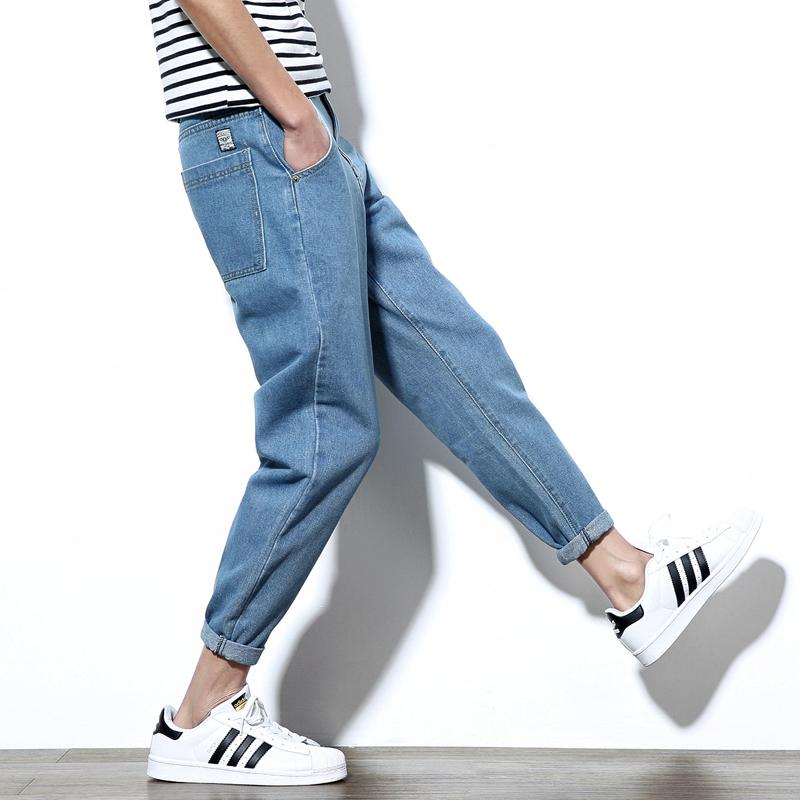 九分裤男牛仔裤子小脚哈伦裤韩版潮流夏季宽松