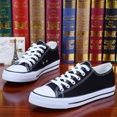 夏季男鞋潮鞋白色帆布鞋男士韩版休闲鞋低帮透气鞋子学生系带板鞋